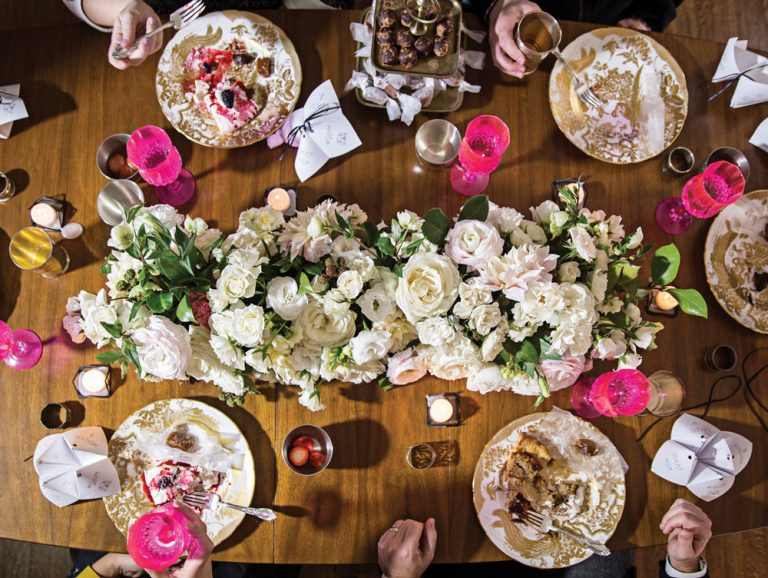 How to throw a festive, floral (and pink!) holiday party