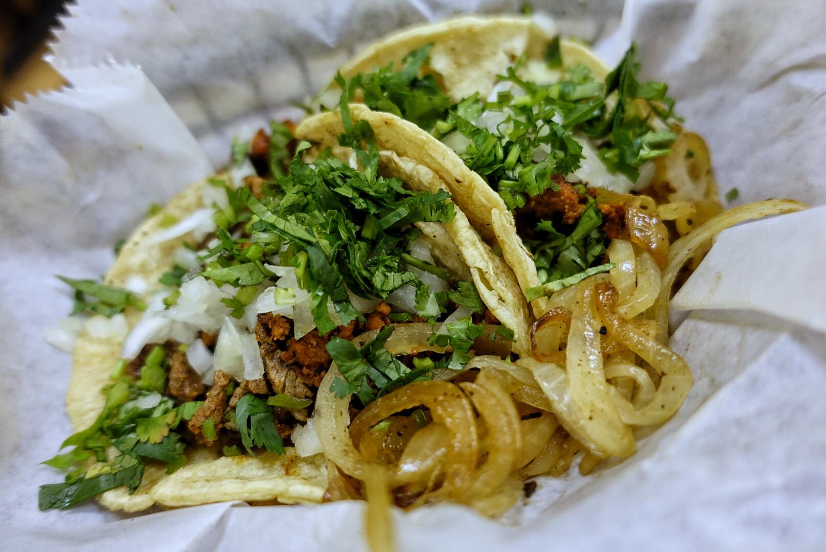 The tacos campechano.