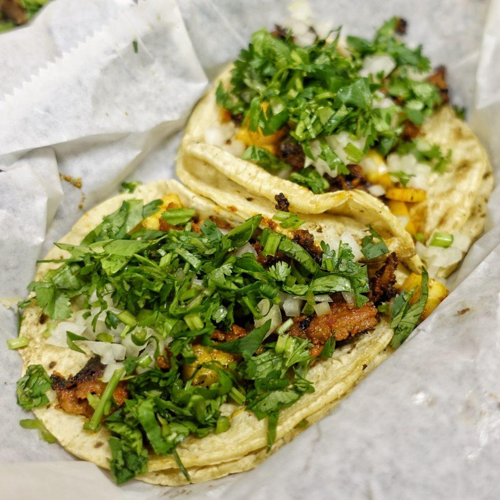 The tacos al pastor at El Trompo.
