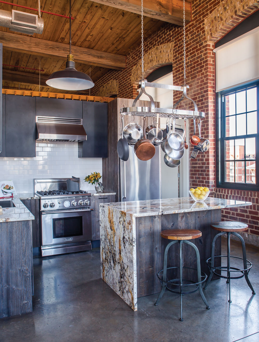 Room Envy A Kitchen In The Cotton Mill Lofts Marries Modern Furnishings With Historical Bones