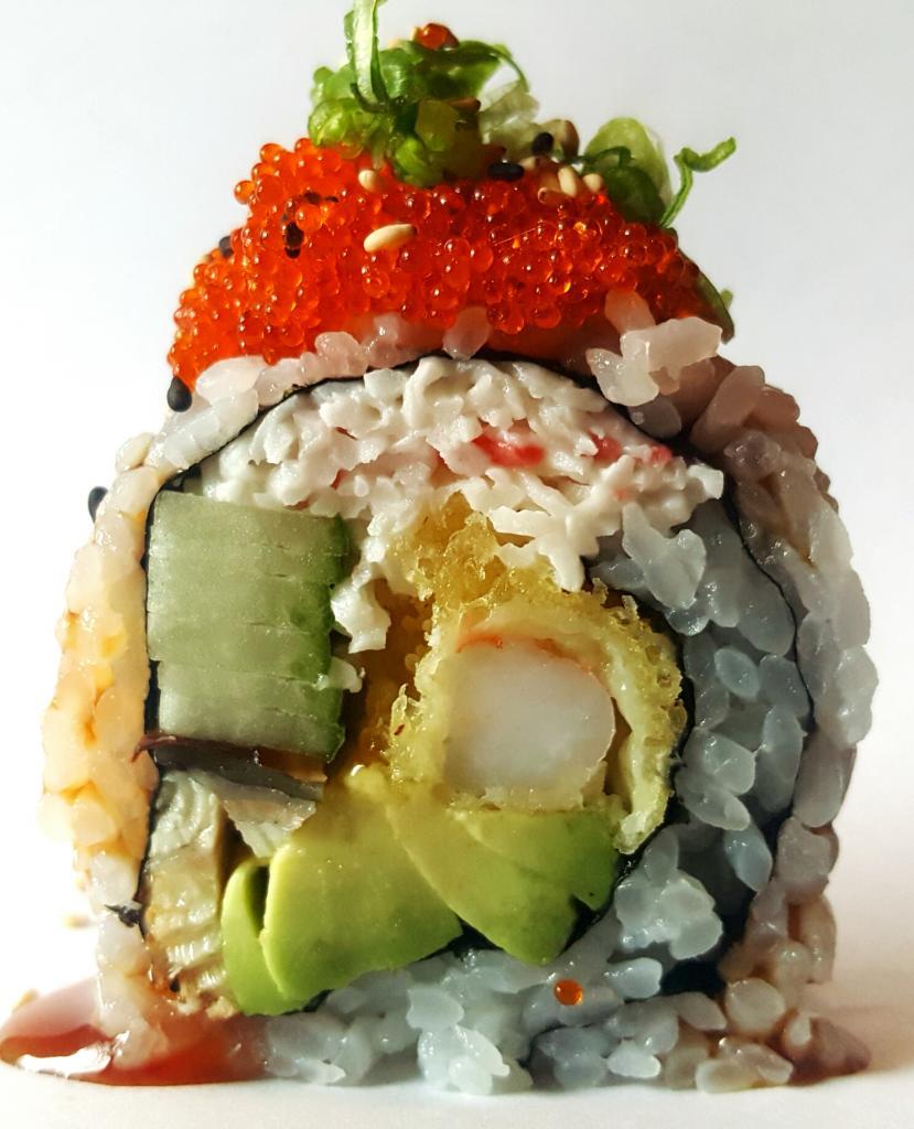 Dragon roll (shrimp tempura, eel, crab salad, avocado, cucumber, fish roe, eel sauce)