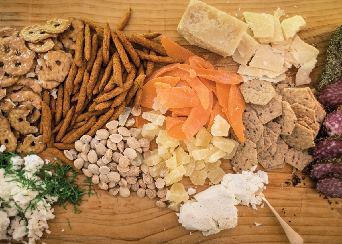 Dried fruit, cheese, and nuts
