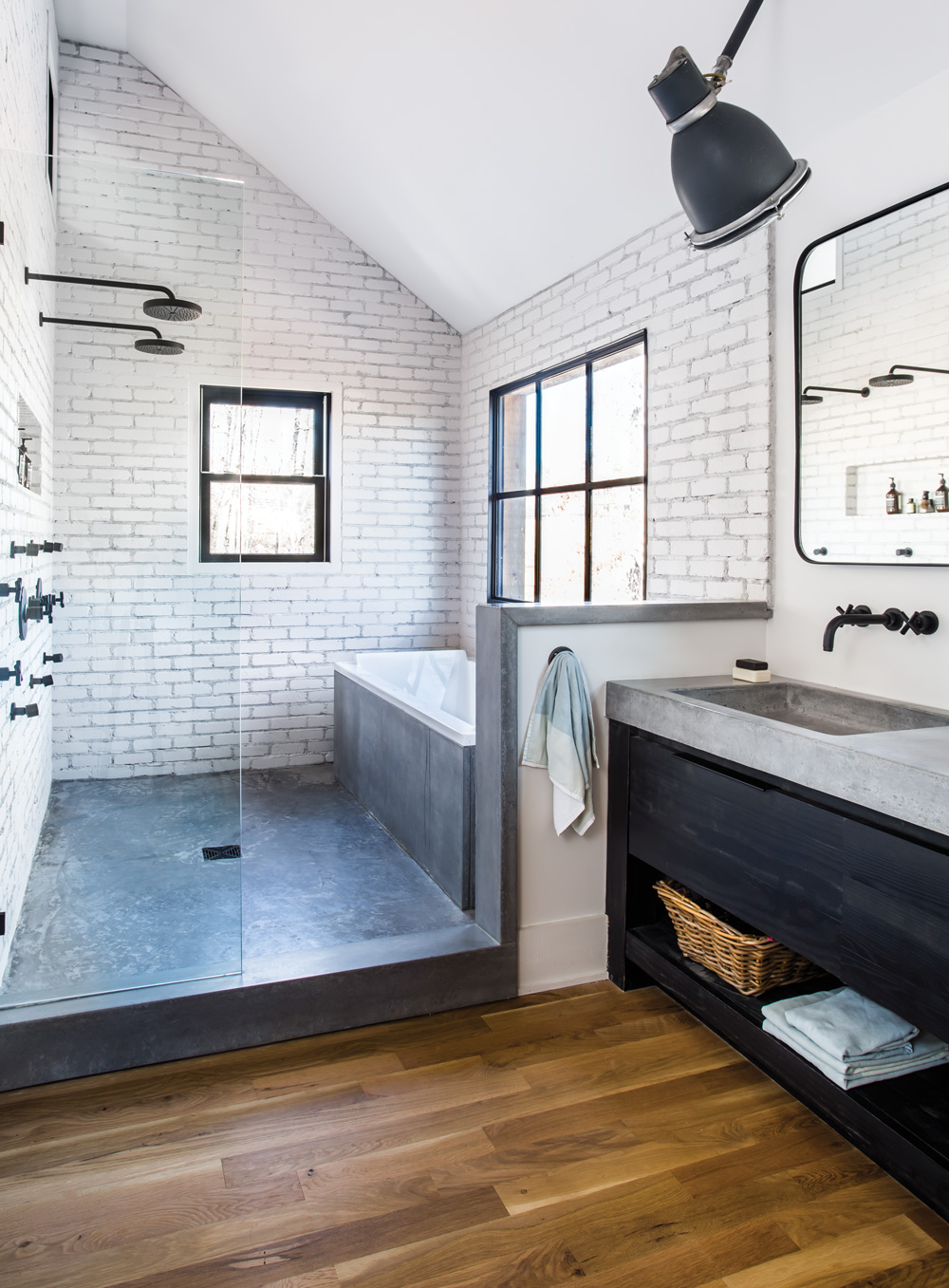 Room Envy At Serenbe a master bath with a modern farmhouse aesthetic Atla