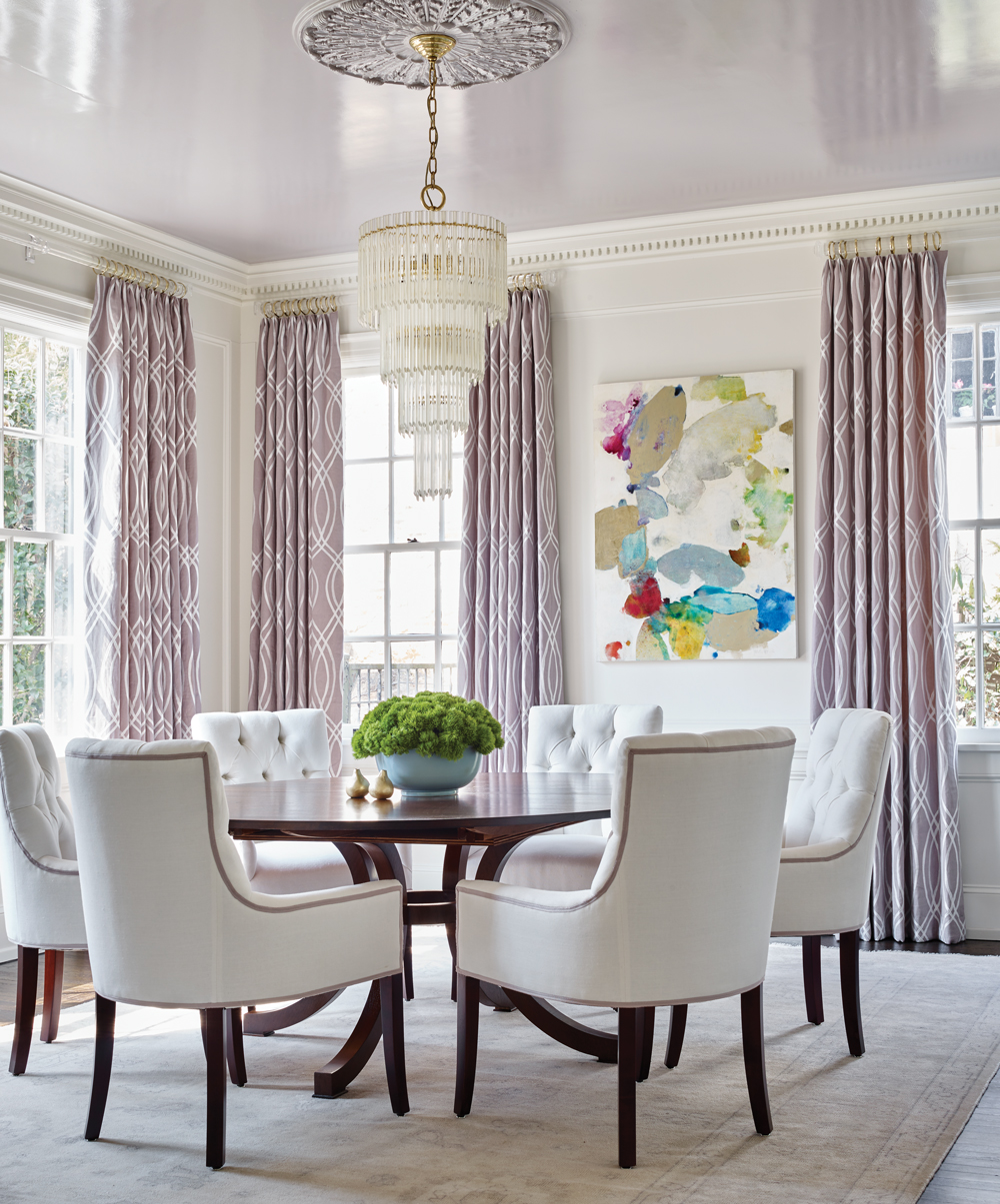 The Round Dining Room Table Suits The Architecture Of The Room. Ross  Requested That All Of The Chairs Have Arms, So Huff Dewberry Came Up With A  Custom ...