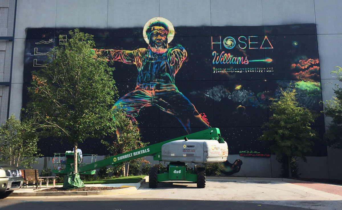 A fluorescent hosea williams is the latest atlanta mural for Atlanta mural artist