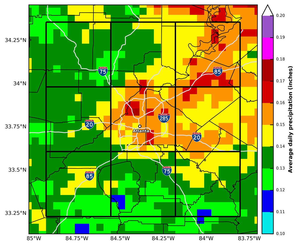 Average daily precipitation in Atlanta summer
