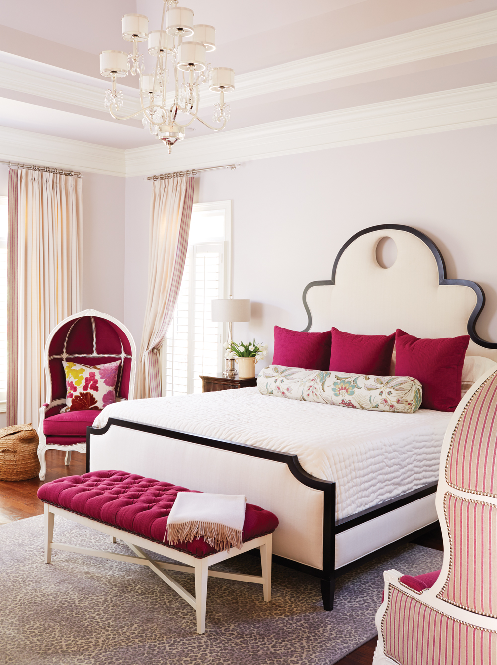 Room envy this milton master bedroom is fashionably fuchsia atlanta magazine for Kristin drohan interior design