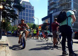 Atlanta protected bike lane West Peachtree protest