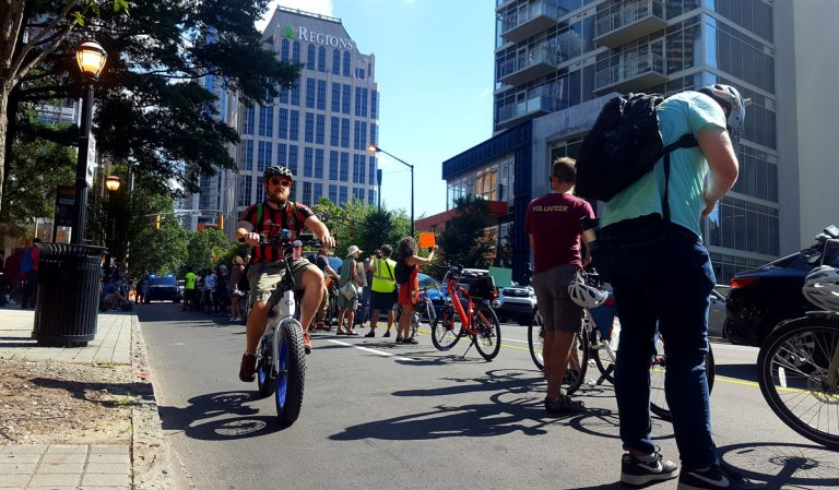 """A """"human-protected"""" bike lane on West Peachtree proved protesters' point"""