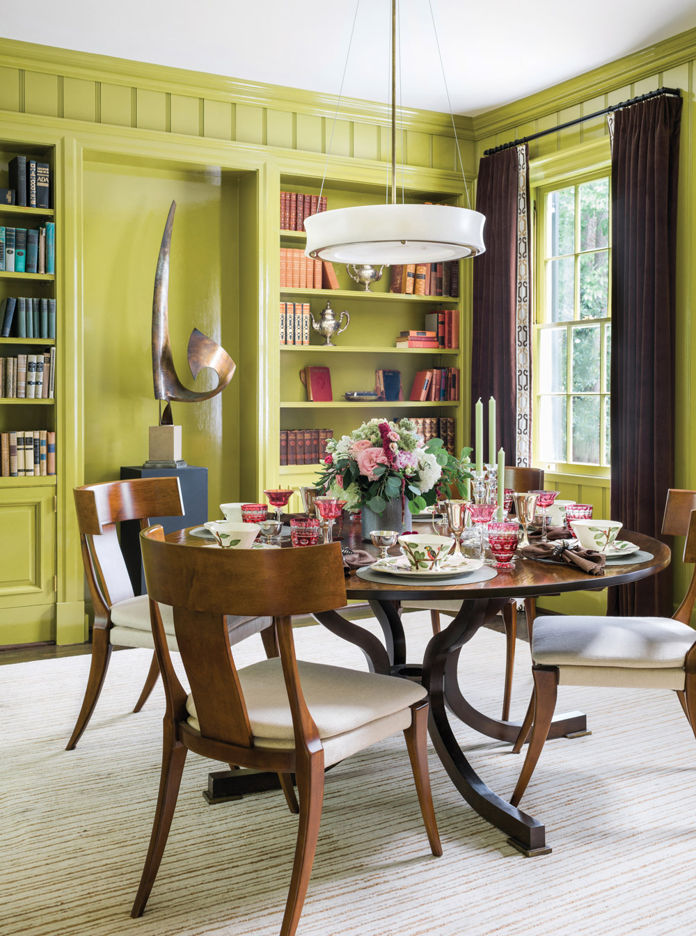 Lime green dining room