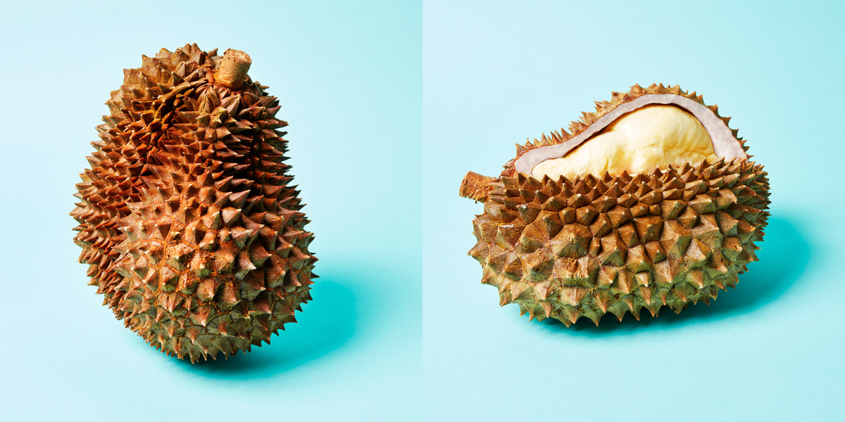 Durian opened and closed