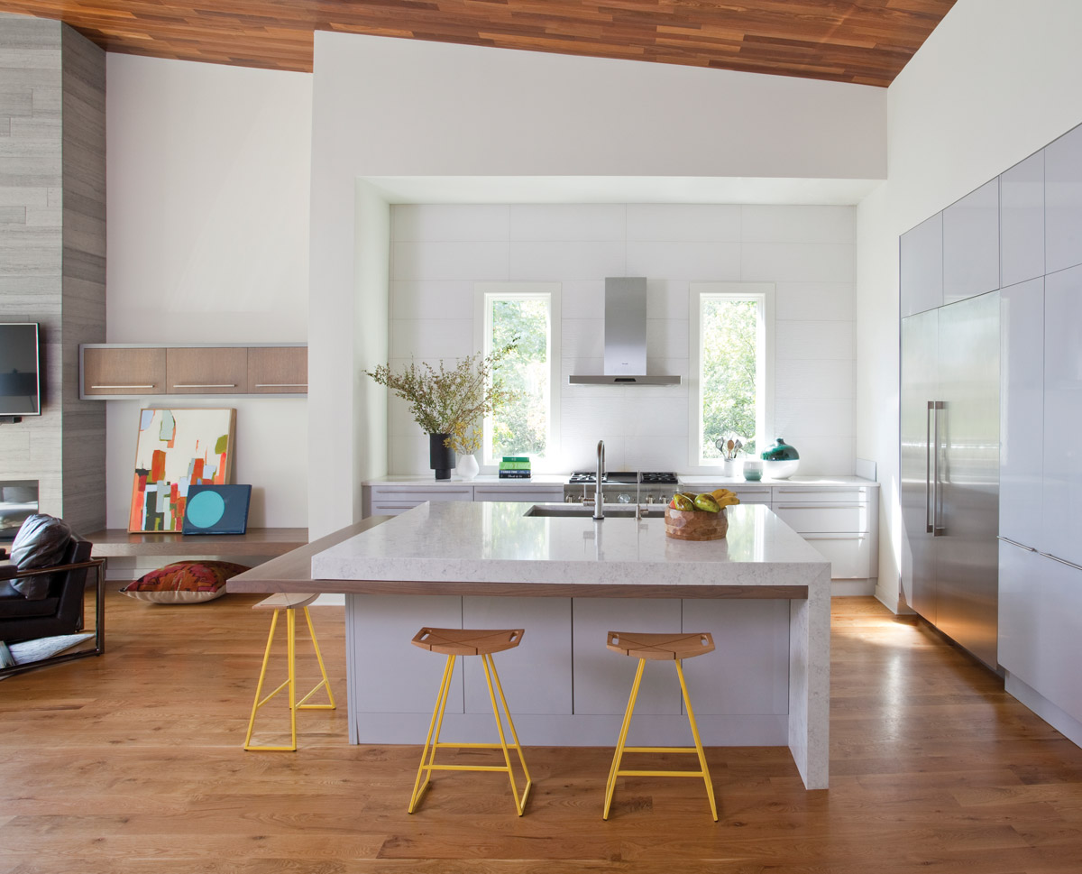 A white and wood-colored kitchen