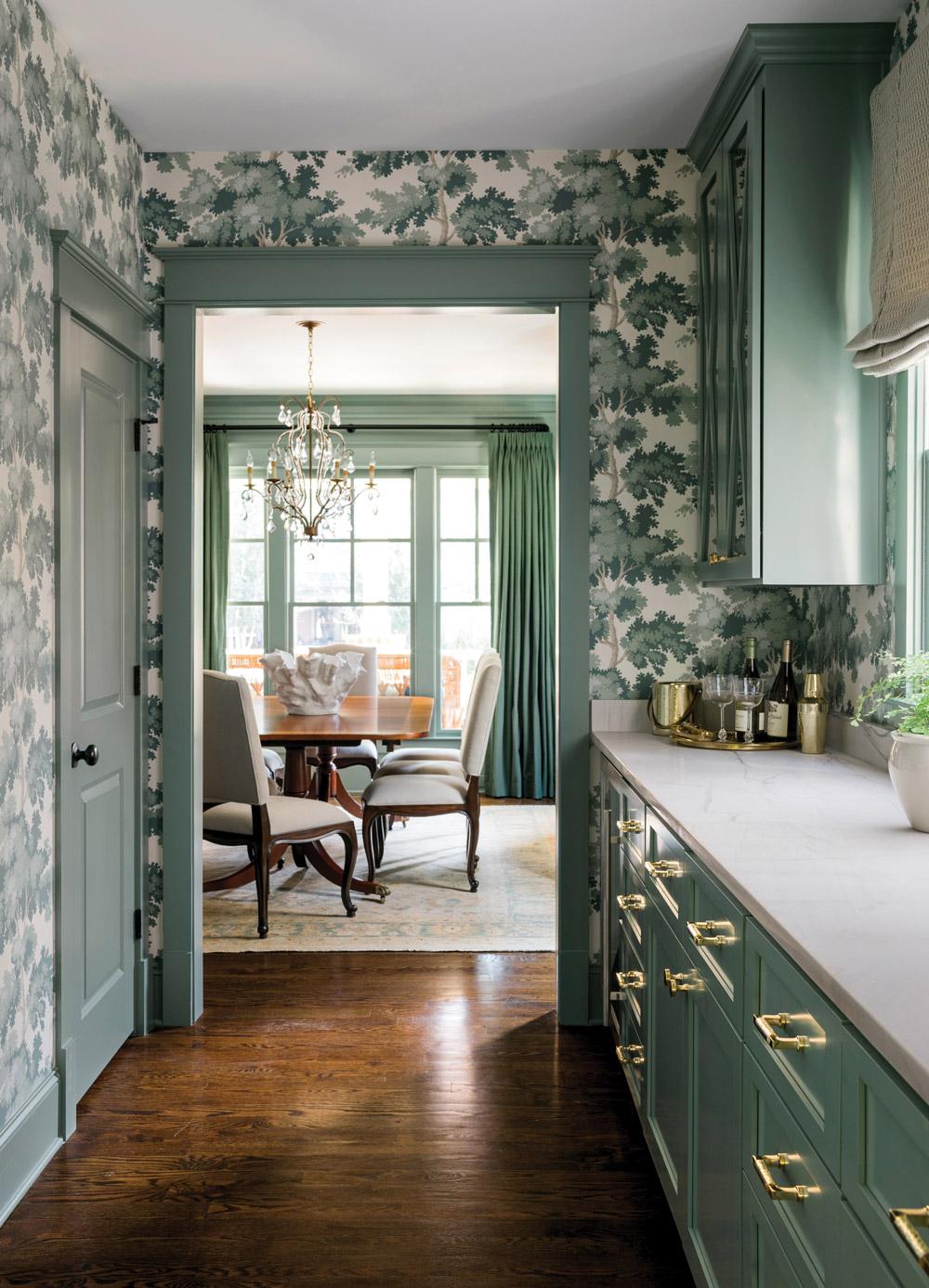 An all-green butler's pantry