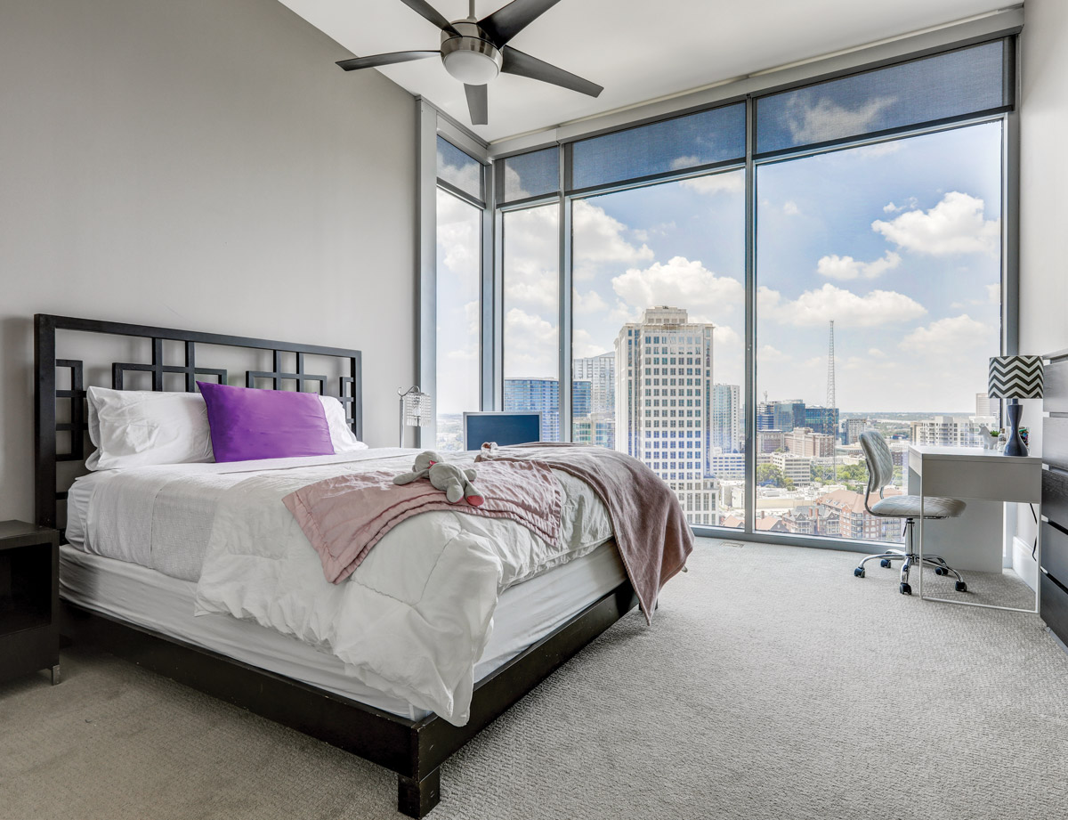 A hotel room with a gorgeous view of Midtown Atlanta