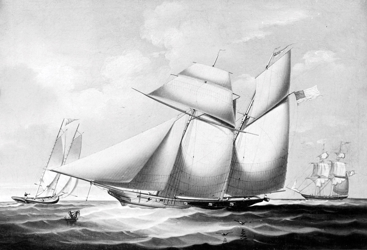 Black and white painting of the USS Wanderer on the sea
