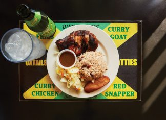 Jerk chicken, rice, and vegetables