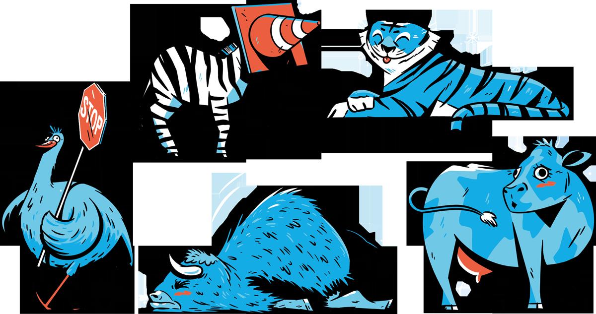 Illustration of a cow, tiger, bison, emu, and zebra