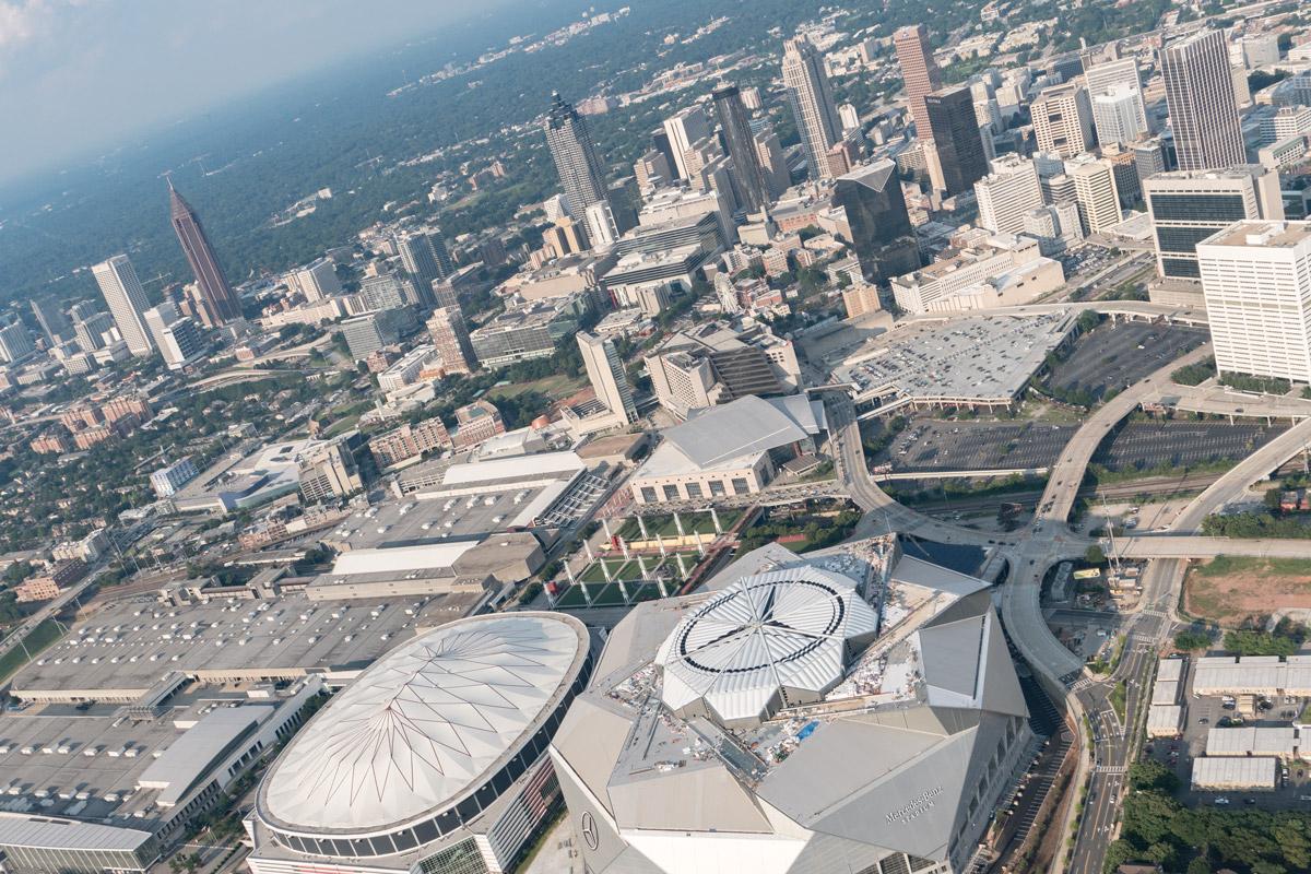 An overhead shot of downtown Atlanta