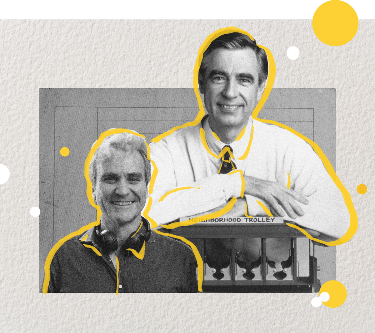 An illustration of Tom Junod and Mister Rogers