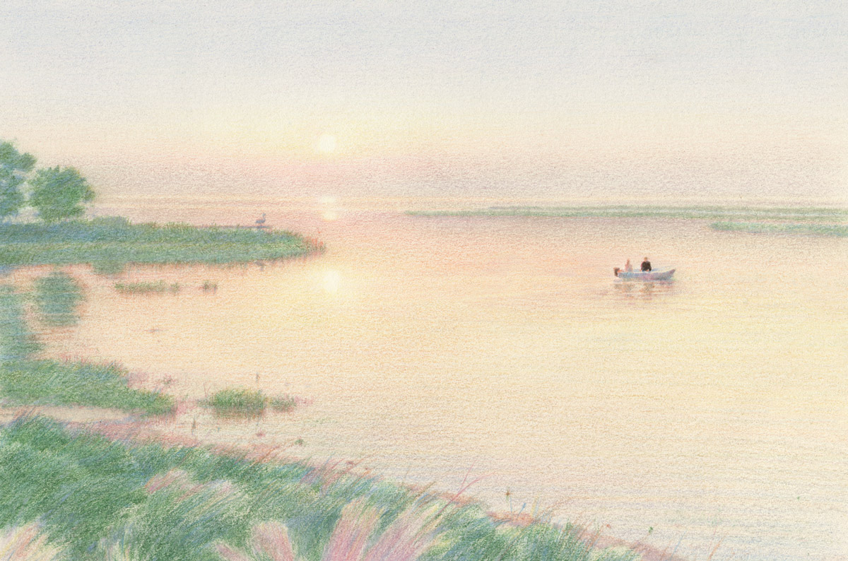 An illustration of two people in a boat in a marsh