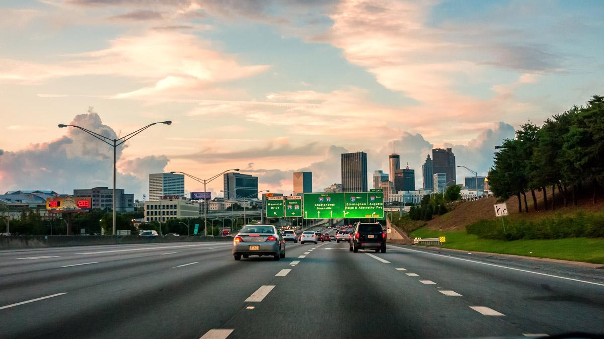 Cars driving down the Atlanta connector
