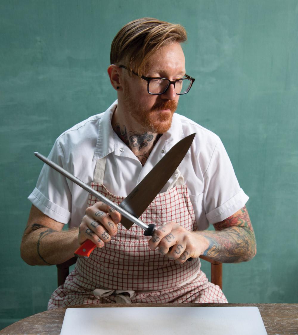 Redbird review: Zeb Stevenson sharpening a knife