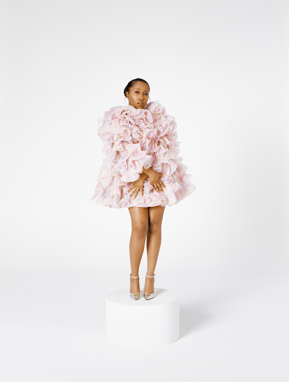 Yung Baby Tate in a pink flower Marc Jacobs dress