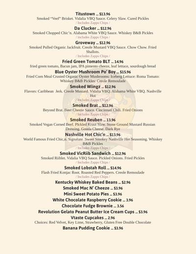 Grass VBQ Atlanta menu