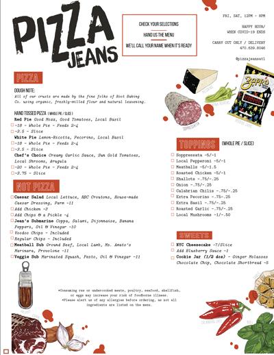 Pizza Jeans Menu