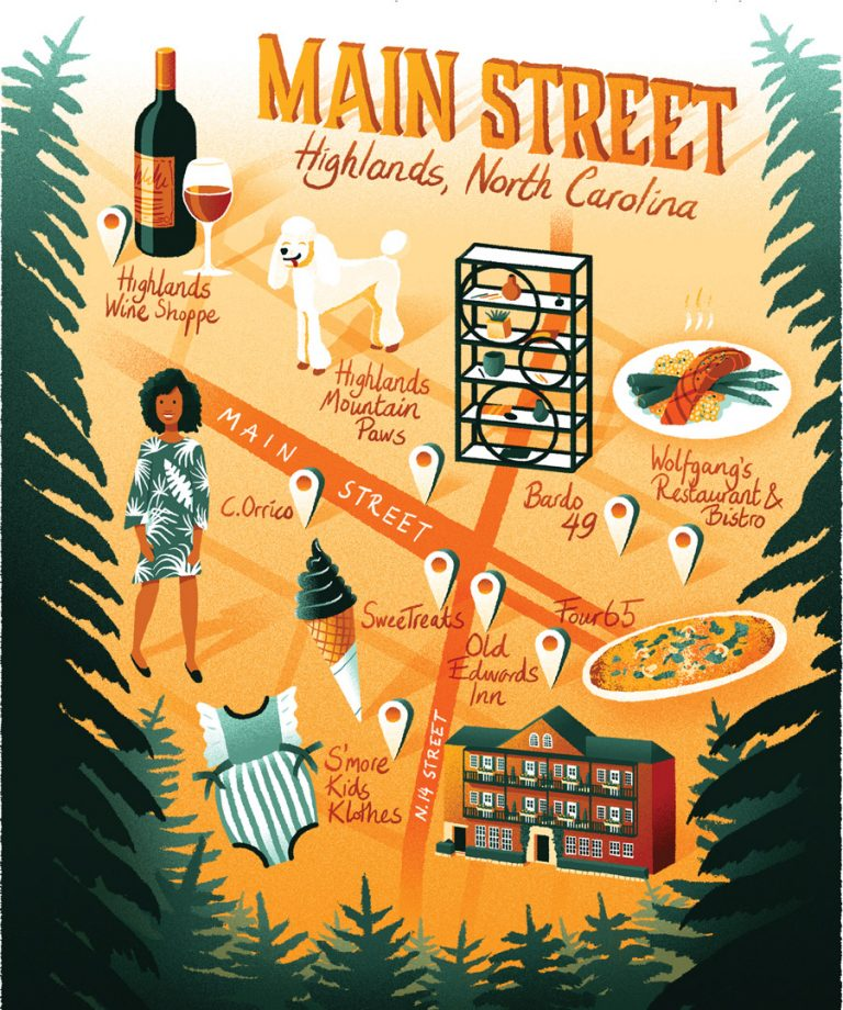 Highlands, North Carolina's Main Street is a gathering place for locals and a sweet escape for visitors