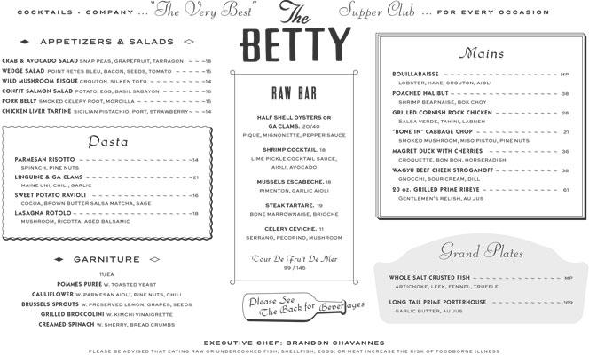 Betty menu
